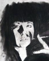 Картина «Девушка с сигаретой» — бумага, карандаш, графика