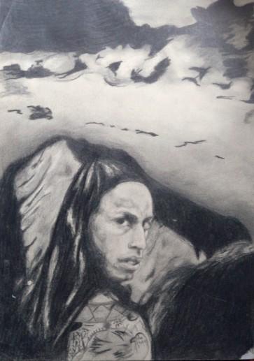 Картина «Индеец» — бумага, карандаш, графика