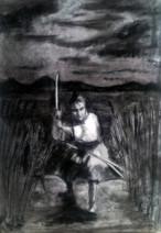 Картина «Самурай-2» — бумага, уголь, графика