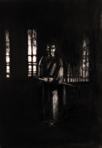 Картина «Самурай-3» — бумага, уголь, графика