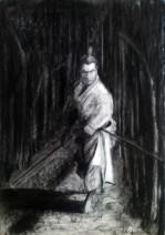 Картина «Самурай-4» — бумага, уголь, графика