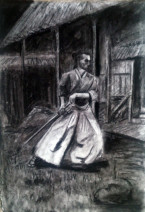 Картина «Самурай» — бумага, уголь, графика