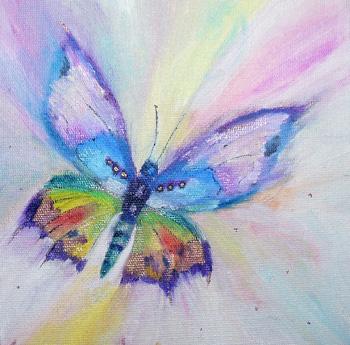 Картина «Бабочка» — картон, масло, живопись