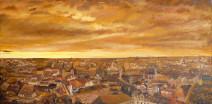 Картина «Город, рассвет» — холст, масло, живопись