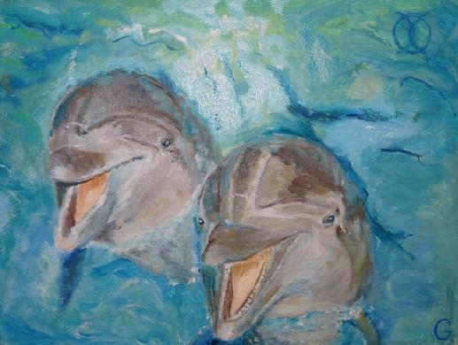Картина «Дельфины» — холст, масло, живопись
