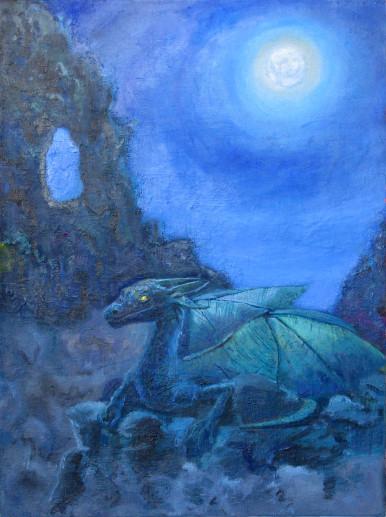 Картина «Дракон» — холст, масло, живопись