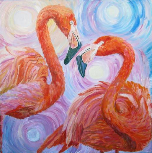 Картина «Фламинго» — холст, масло, живопись