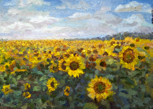 Картина «Подсолнухи» — холст, масло, живопись