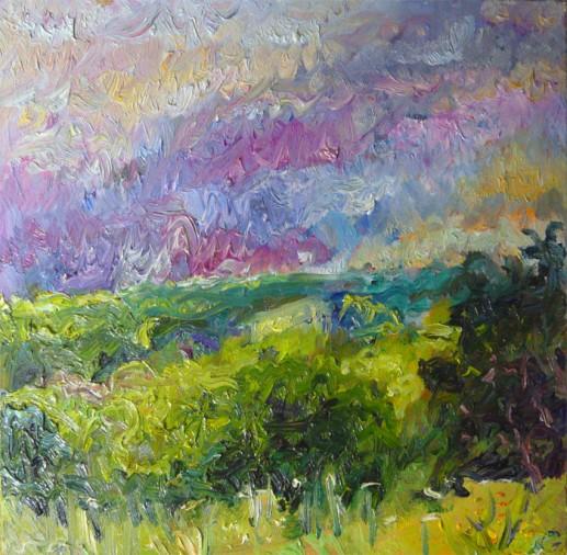 Картина «Луг» — холст, масло, живопись