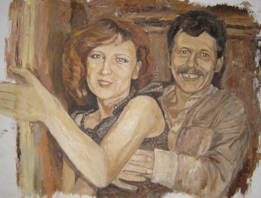 Картина «Родители» — холст, масло, живопись