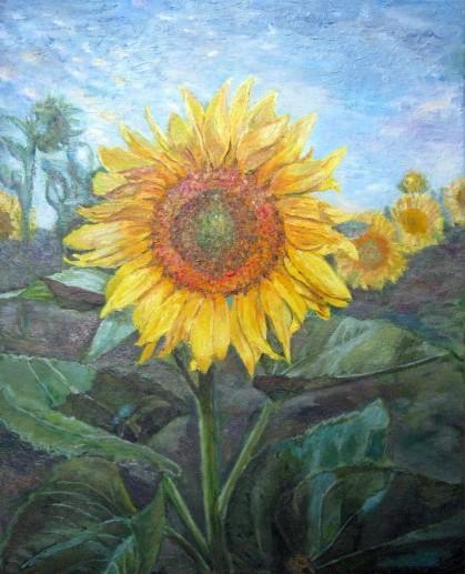 Картина «Подсолнух» — холст, масло, живопись