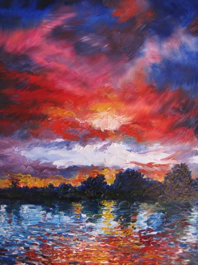 Картина «Закат» — холст, масло, живопись