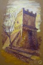 Картина «Замок» — картон, масло, живопись