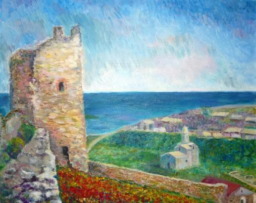 Картина «Башня у моря» — холст, масло, живопись