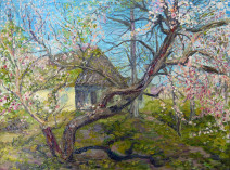 Картина «Мазанка, весна» — холст, масло, живопись