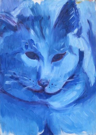 Картина Кот «Белый» — холст, масло, живопись