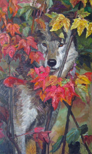 Картина «Волк» — холст, масло, живопись