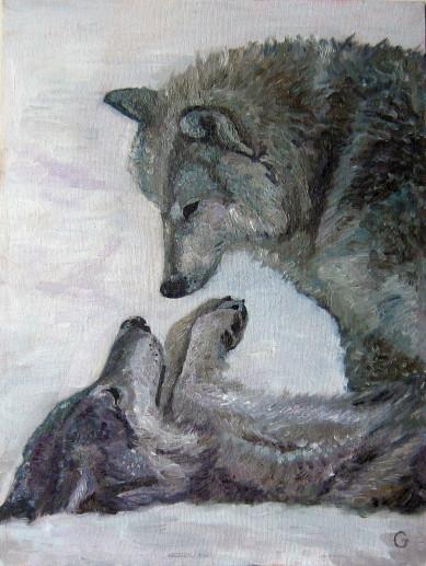 Картина «Волки» — холст, масло, живопись