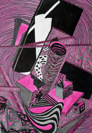 Картина «Абстракция» — картон, тушь, гуашь, живопись