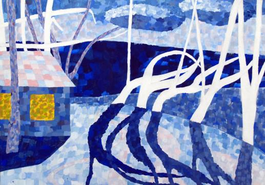 Картина «Дом зимой» — картон, акрил, живопись
