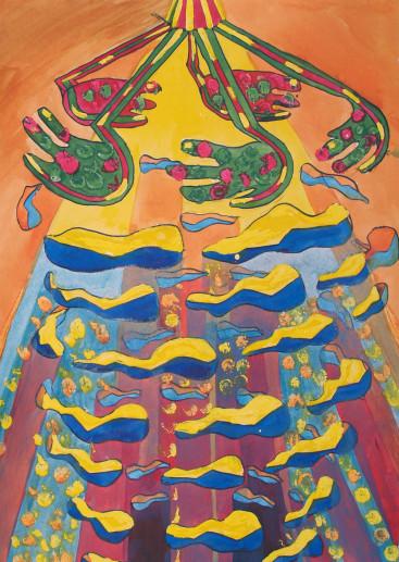 Картина «Свет» — картон, гуашь, живопись
