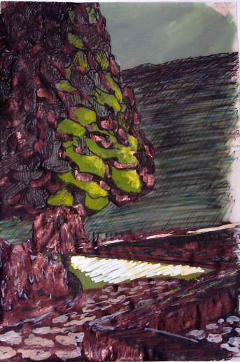 Картина «Дерево» — картон, гуашь, тушь, живопись